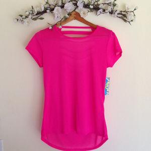 Aviva Pink Short Sleeve Workout Top